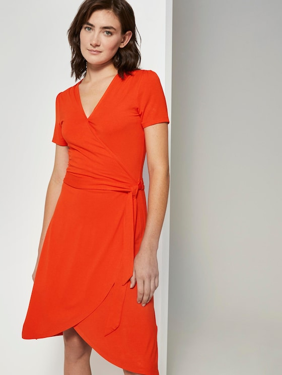 Jersey midi-dress in a wrap look - Women - strong flame orange - 5 - TOM TAILOR