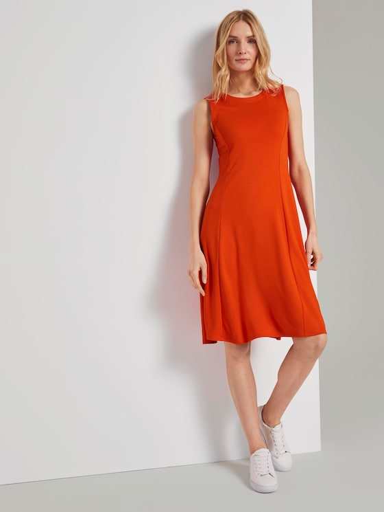 Jersey dress with Vienna seams - Women - strong flame orange - 5 - TOM TAILOR