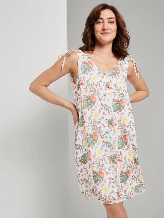 Ärmelloses Chiffon-Kleid mit Schulter-Detail - Frauen - white watercolor flower design - 5 - TOM TAILOR