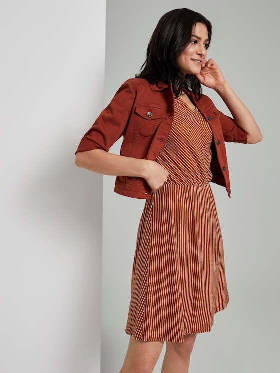 Striped jersey dress with a broad shoulder area - Women - brown white stripe - 5 - TOM TAILOR