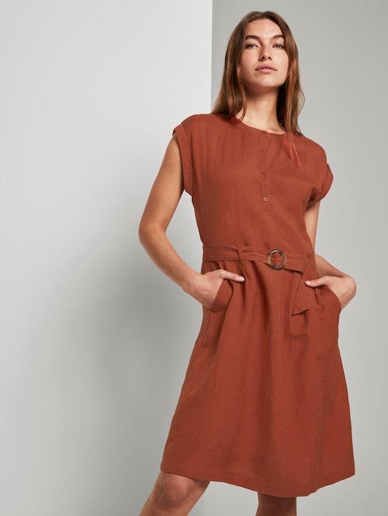 Linen-blend shirt dress with a belt - Women - Goji Orange - 5 - TOM TAILOR