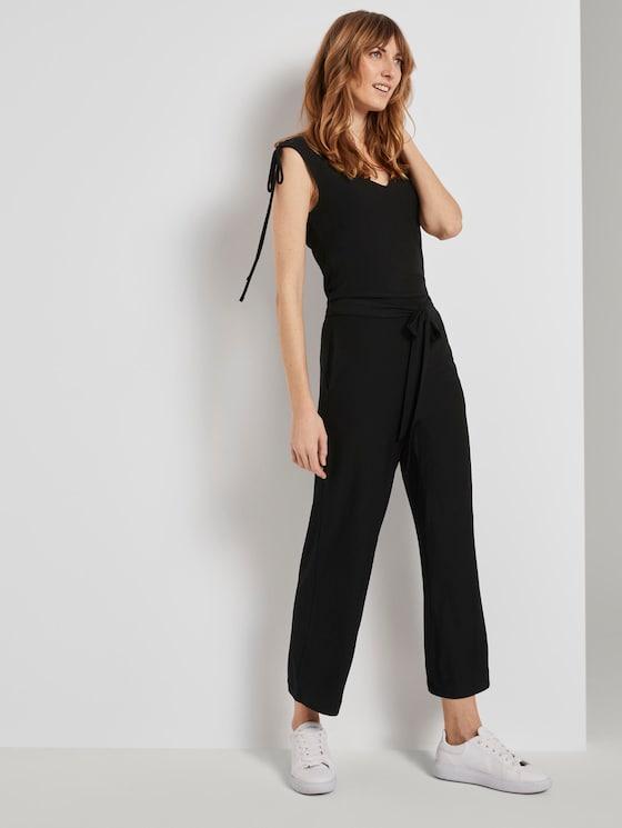 Culotte-Jumpsuit mit Schleifendetail - Frauen - deep black - 5 - TOM TAILOR