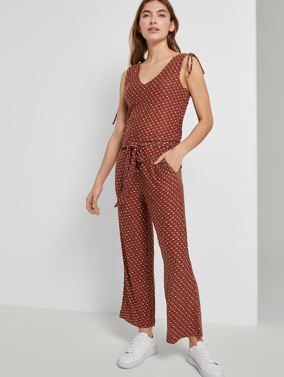 Culotte-Jumpsuit mit Schleifendetail - Frauen - brown geometric design - 5 - TOM TAILOR