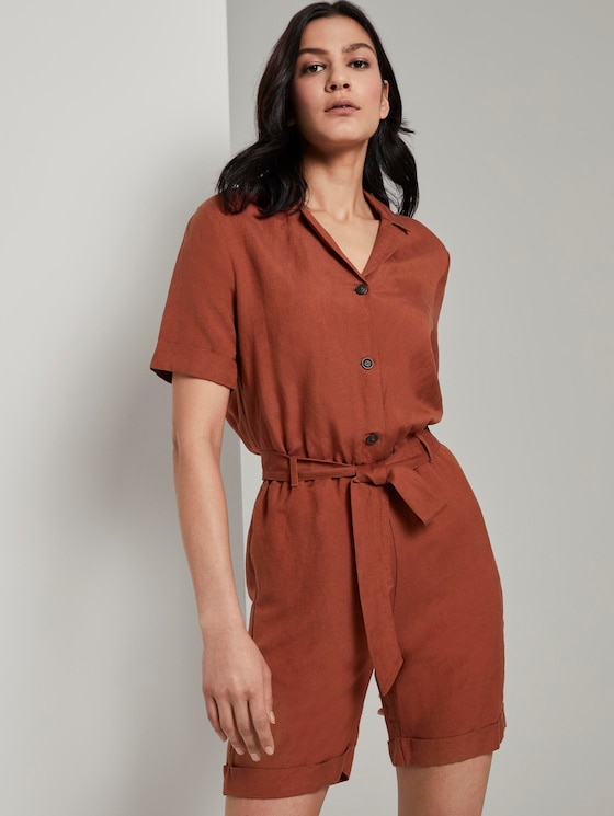 Kurzer Utility-Jumpsuit mit Revers-Kragen - Frauen - Goji Orange - 5 - TOM TAILOR