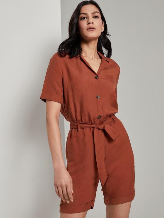 Short utility jumpsuit with a lapel collar - Women - Goji Orange - 5 - TOM TAILOR