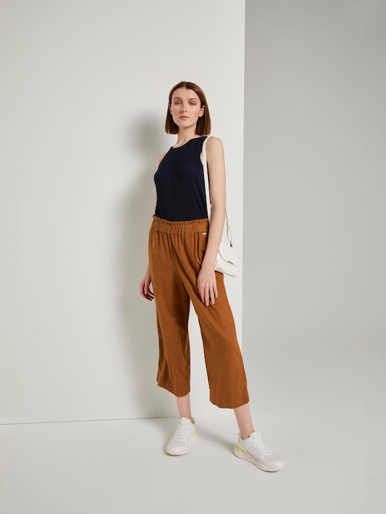 Culotte with an elastic waistband - Women - mango brown - 3 - TOM TAILOR Denim