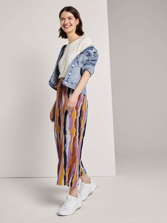 Stromende culotte met stropdas riem - Vrouwen - wavy multicolor stripes - 3 - TOM TAILOR Denim