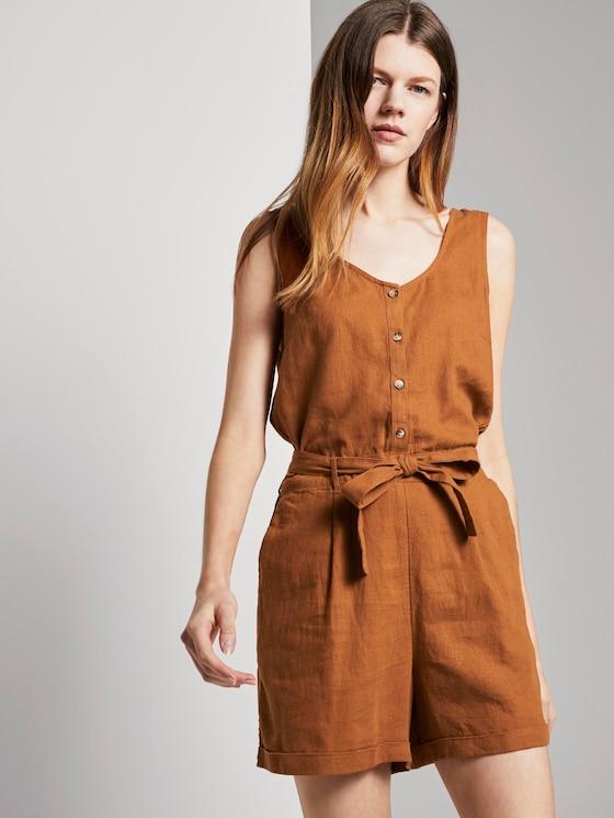 Ärmelloser Jumpsuit mit Gürtel - Frauen - mango brown - 5 - TOM TAILOR Denim