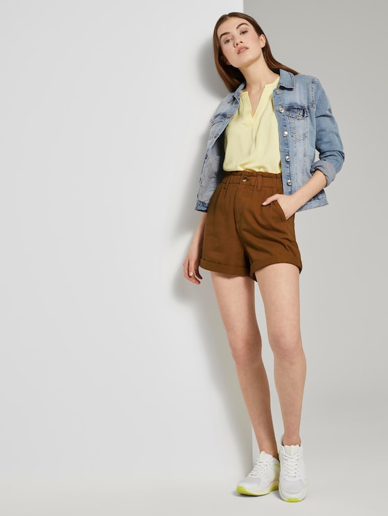 Relaxed shorts with an elastic waistband - Women - mango brown - 3 - TOM TAILOR Denim