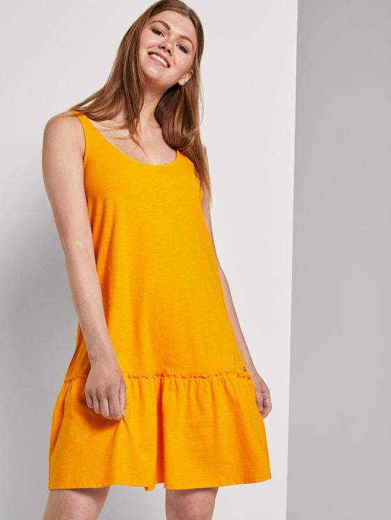 Kleid mit Rücken-Detail und Rüschung - Frauen - orange yellow - 5 - TOM TAILOR Denim