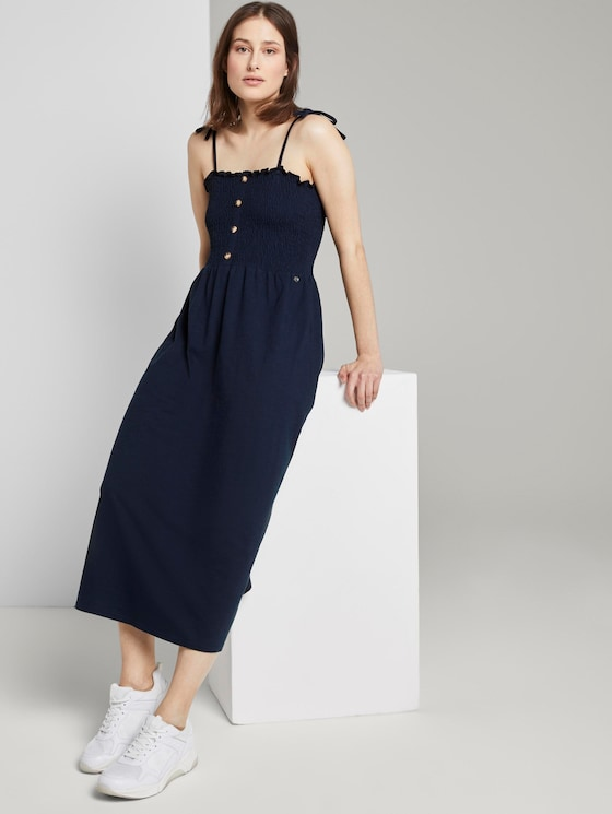 Midi dress with ruffles - Women - Real Navy Blue - 5 - TOM TAILOR Denim