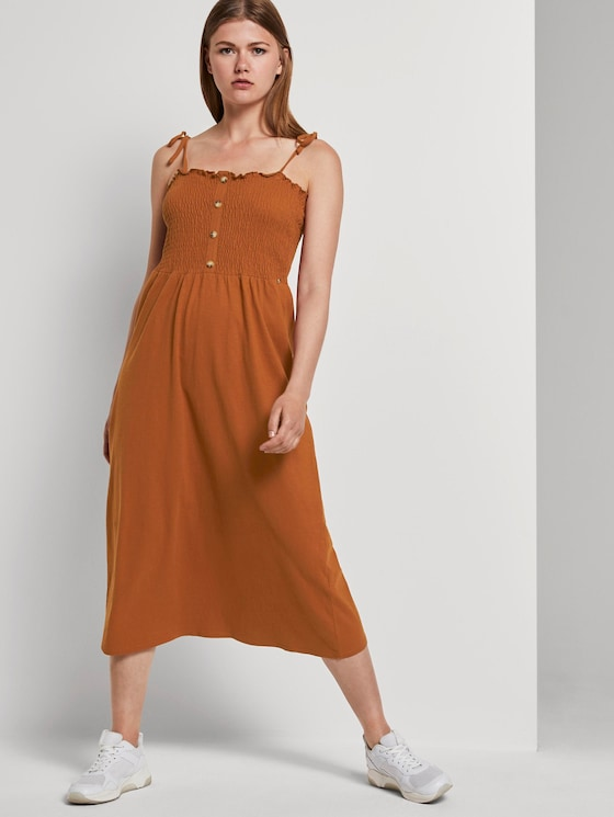 Midikleid mit Raffungen - Frauen - mango brown - 5 - TOM TAILOR Denim