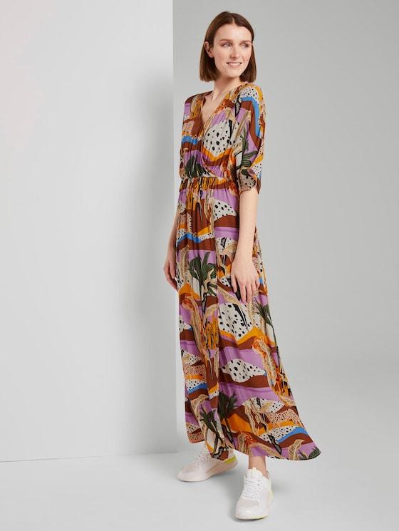Patterned maxi dress made of crepe - Women - tropical safari print - 5 - TOM TAILOR Denim