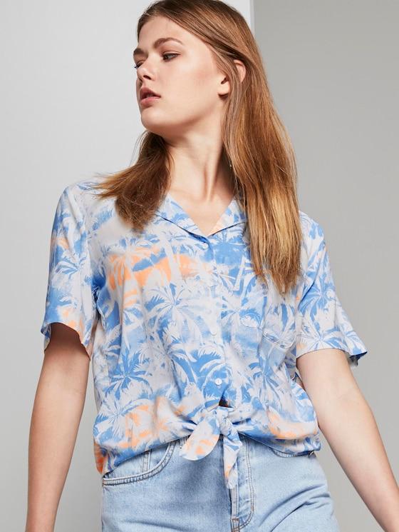 Hawaiian shirt with a palm tree print for tying - Women - blue coral palmtree print - 5 - TOM TAILOR Denim
