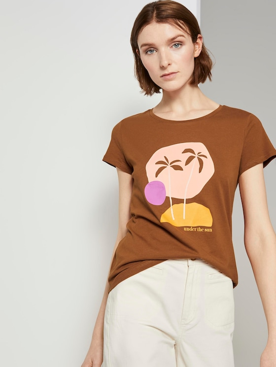T-Shirt met print - Vrouwen - mango brown - 5 - TOM TAILOR Denim