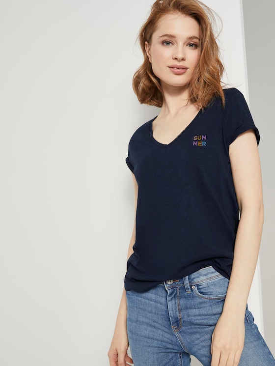 T-Shirt mit V-Ausschnitt - Frauen - Real Navy Blue - 5 - TOM TAILOR Denim