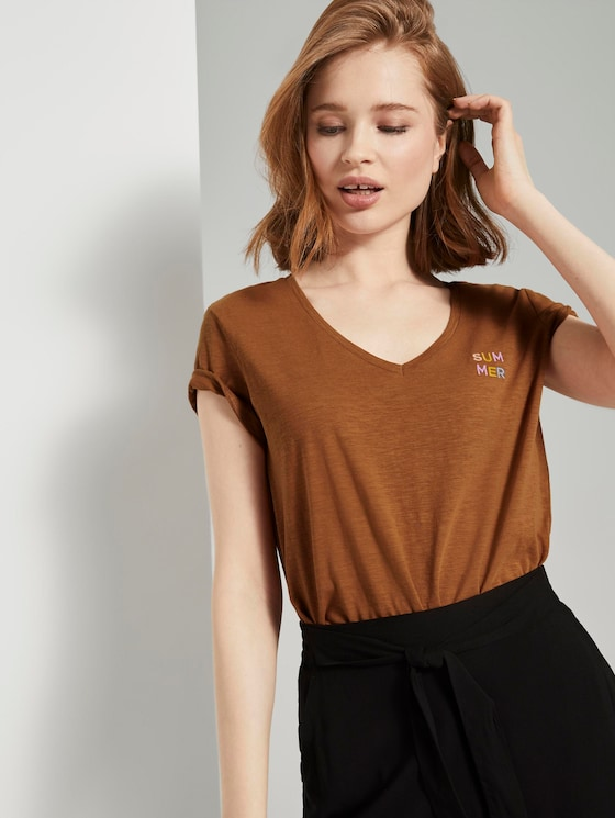 T-Shirt mit V-Ausschnitt - Frauen - mango brown - 5 - TOM TAILOR Denim