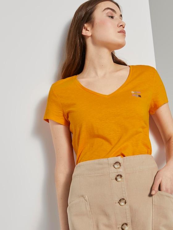 T-Shirt mit V-Ausschnitt - Frauen - orange yellow - 5 - TOM TAILOR Denim