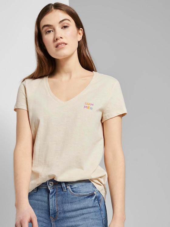 T-Shirt mit V-Ausschnitt - Frauen - soft creme beige - 5 - TOM TAILOR Denim