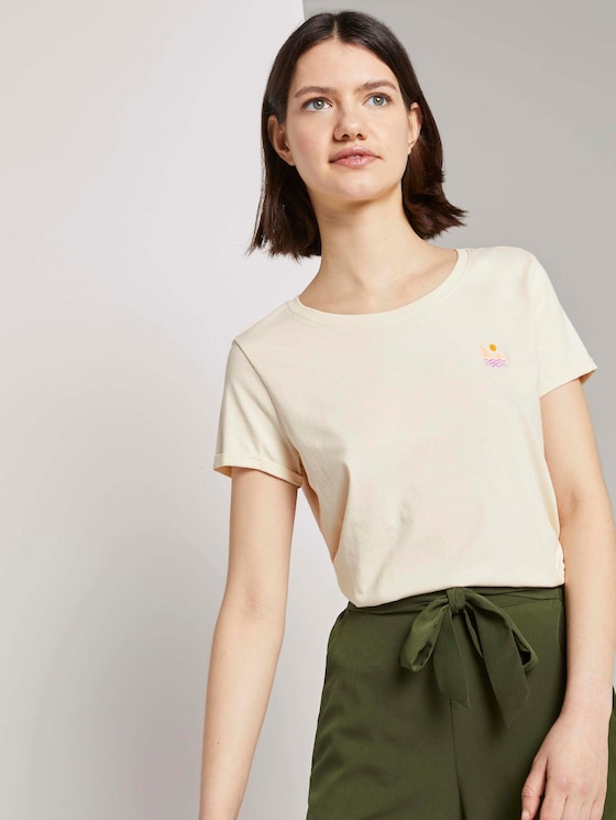 T-shirt with a subtle print - Women - soft creme beige - 5 - TOM TAILOR Denim