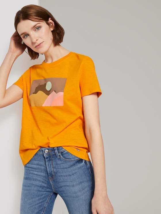 T-Shirt mit Print - Frauen - orange yellow - 5 - TOM TAILOR Denim