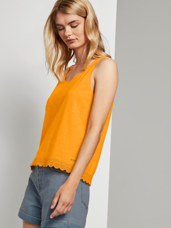 Relaxed Top mit Spitzenborte - Frauen - orange yellow - 5 - TOM TAILOR Denim