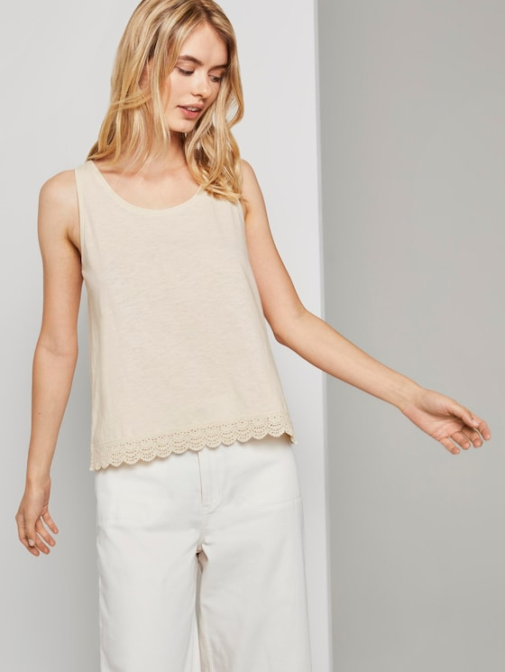 Relaxed top with lace trim - Women - soft creme beige - 5 - TOM TAILOR Denim