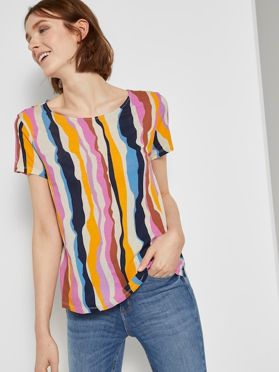 T-Shirt mit Cut-Outs - Frauen - wavy multicolor stripes - 5 - TOM TAILOR Denim