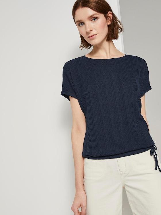 T-Shirt mit elastischem Bund - Frauen - Real Navy Blue - 5 - TOM TAILOR Denim