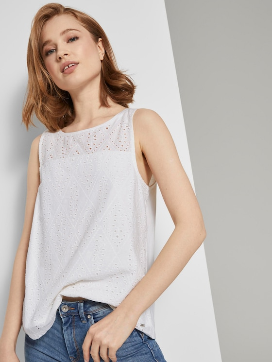 Top mit Spitze - Frauen - Off White - 5 - TOM TAILOR Denim