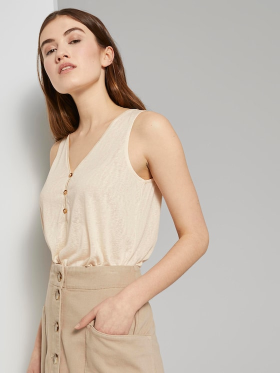 Stromende top met knopen - Vrouwen - soft creme beige - 5 - TOM TAILOR Denim
