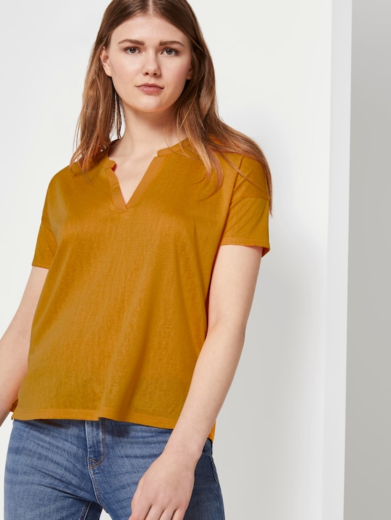 T-shirt with a Henley neckline - Women - orange yellow - 5 - TOM TAILOR Denim