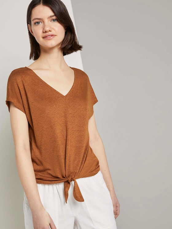 T-Shirt mit Knoten-Detail - Frauen - mango brown - 5 - TOM TAILOR Denim