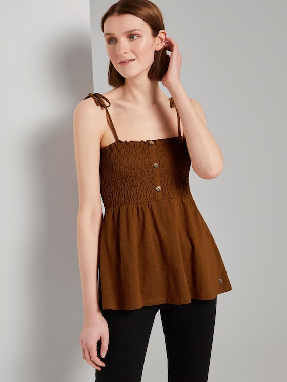 Top mit Raffungen - Frauen - mango brown - 5 - TOM TAILOR Denim