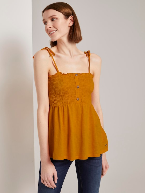 Top with ruffles - Women - orange yellow - 5 - TOM TAILOR Denim