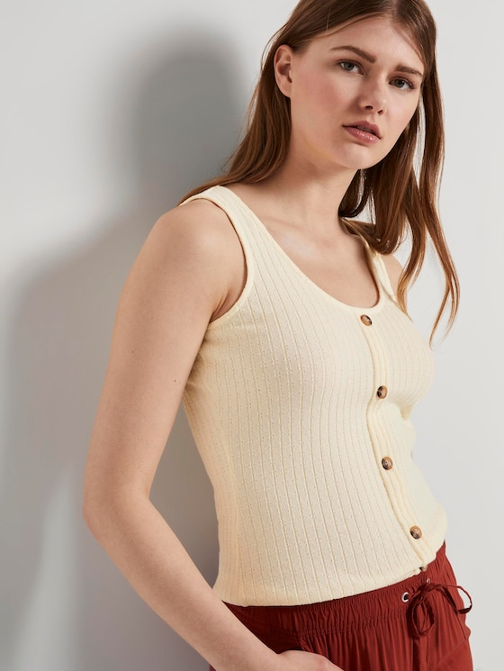 Geripptes Top mit Knopfleiste - Frauen - soft creme beige - 5 - TOM TAILOR Denim