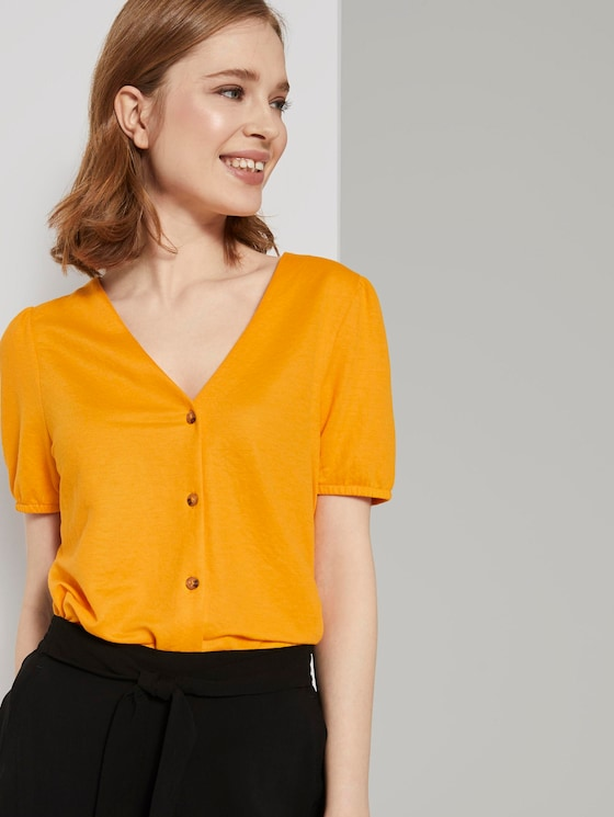 Textured T-shirt with a button tab - Women - orange yellow - 5 - TOM TAILOR Denim