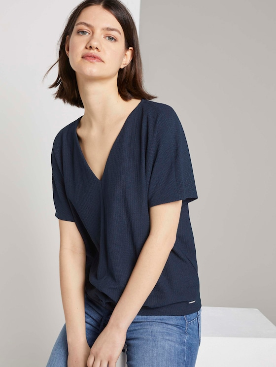 Relaxed T-Shirt mit Schleifen-Detail - Frauen - Real Navy Blue - 5 - TOM TAILOR Denim
