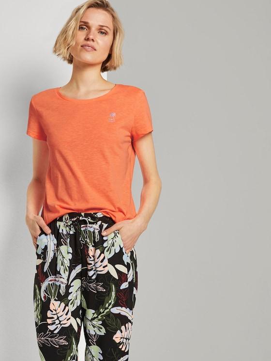 T-Shirt mit platziertem Print - Frauen - dark papaya neon orange - 5 - TOM TAILOR Denim