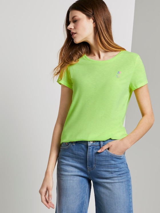 T-shirt with a placed print - Women - light neon yellow - 5 - TOM TAILOR Denim