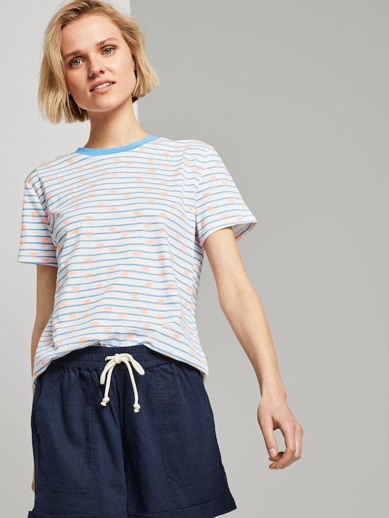 Loose T-shirt with a colourful print - Women - blue white stripe with palms - 5 - TOM TAILOR Denim
