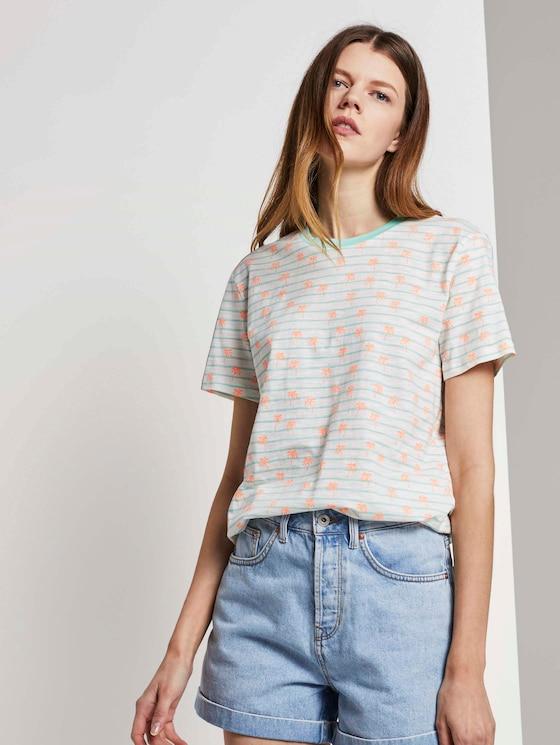Lockeres T-Shirt mit buntem Print - Frauen - mint white stripe with palms - 5 - TOM TAILOR Denim