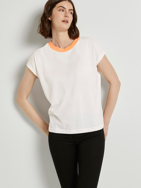 Schlichtes T-Shirt mit Stehkragen - Frauen - Off White - 5 - TOM TAILOR Denim