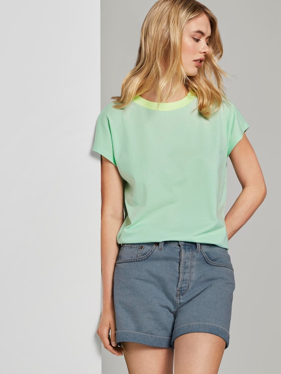 Simple T-shirt with a stand-up collar - Women - fresh mint - 5 - TOM TAILOR Denim
