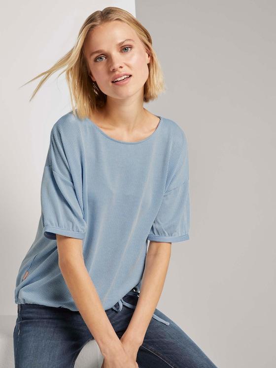 Lockeres Streifen-Shirt mit Tunnelzug - Frauen - blue white stripe - 5 - TOM TAILOR Denim