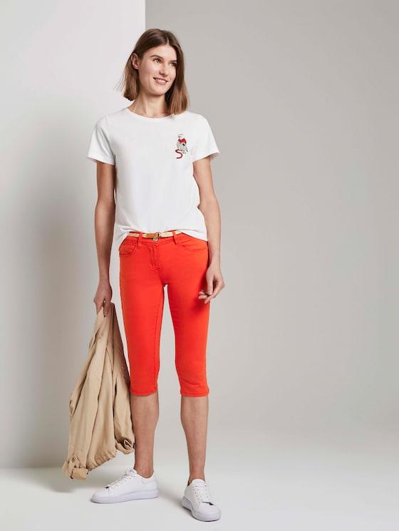Alexa Slim Caprihose aus Lyocellgemisch - Frauen - strong flame orange - 3 - TOM TAILOR