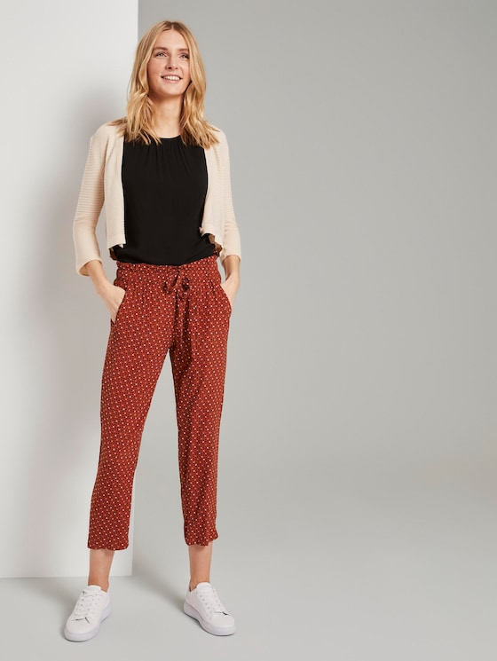 Loose-fit trousers with an elastic waistband - Women - brown geometric design - 3 - TOM TAILOR