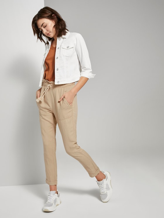 Loose Fit Hose aus Leinengemisch - Frauen - cream toffee - 3 - TOM TAILOR