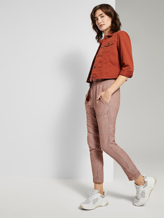 Loose-fit linen-blend trousers - Women - brown white vertical stripe - 3 - TOM TAILOR