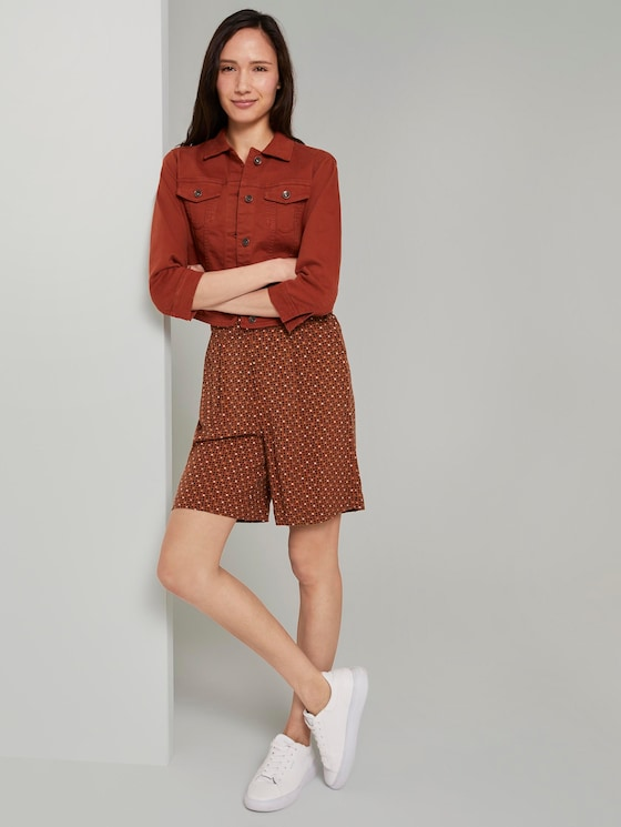 Loose Fit Bermuda Shorts mit elastischem Bund - Frauen - brown geometric design - 3 - TOM TAILOR